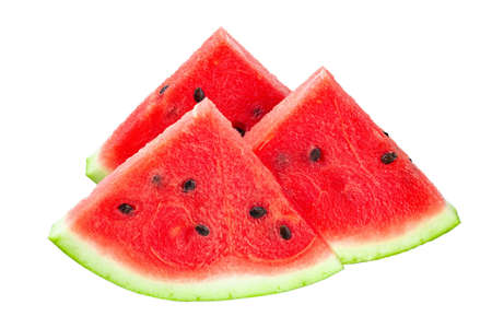 closeup of some pieces of refreshing watermelon on a white background.