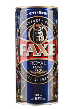 Kiev, UKRAINE - June 11, 2019. Faxe Royal export is a popular lager brewed by Faxe Bryggeri A/S, Danish brewery owned by Royal Unibrew Editoriali