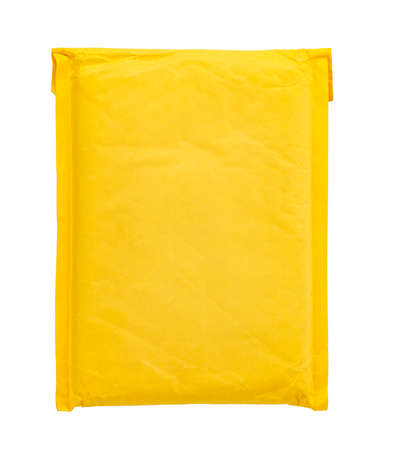 yellow postal bag for packing parcels. Isolated on white background. space for text
