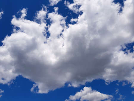 Blue sky background with clouds, beautiful nature on summer Imagens