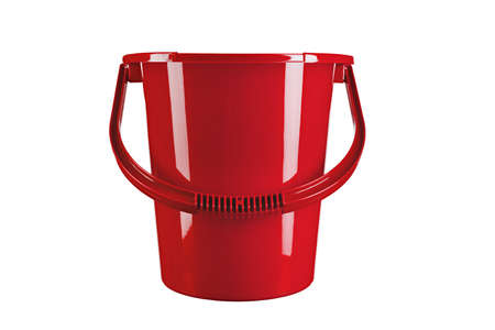 Red mop bucket isolated on white background. space for text