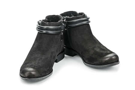leather black autumn boots isolated on white background. basic shoes for the fall.