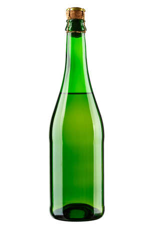 unlabeled champagne bottle isolated on a white background. file contains clipping path  Banco de Imagens
