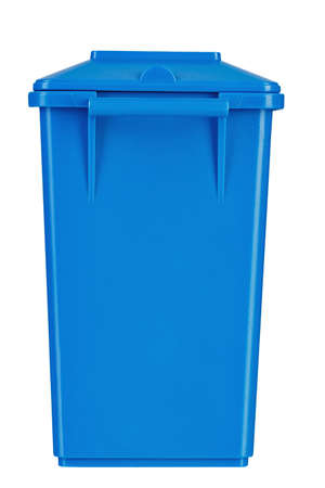 closed blue trash bin isolated on a white background. file contains clipping path  Banco de Imagens