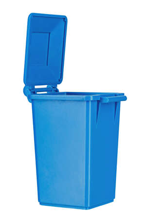 open blue trash bin isolated on a white background. file contains clipping path