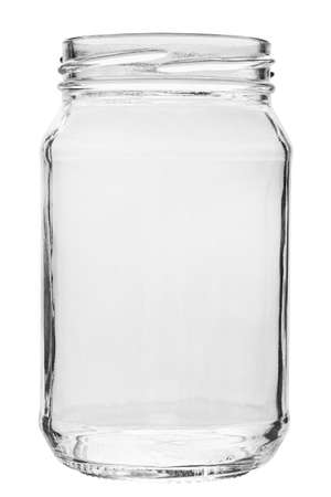 Empty glass jar without a lid. isolated on a white background. file contains clipping path