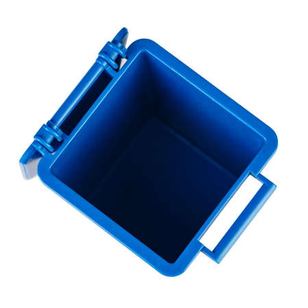 open blue trash bin isolated on a white background. file contains clipping path. view from above