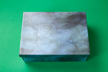 closed unbranded shoe box on a green background. place for text