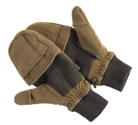 mens winter gloves on a white background, isolated.