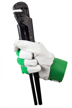 pipe wrench in a worker's hand, in a work glove. isolated on a white background. file contains clipping path