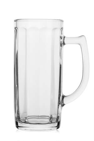 Empty beer glass. Isolated on a white background. Field with Clipping Path.