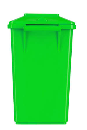 closed green trash bin isolated on a white background.