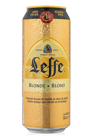 Ukraine, Kiev - January 22. 2020: Aluminium can of Leffe Blonde beer on white background. Leffe is a beer brand owned by InBev Belgium marketed as Abbey beer. File contains clipping path.