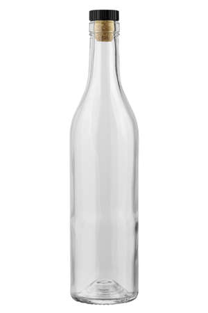Empty cognac bottle on a white background.