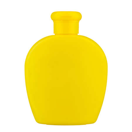 bottle of baby shampoo on a white background. yellow plastic bottle, without inscriptions. isolated on a white background. file contains clipping path Archivio Fotografico