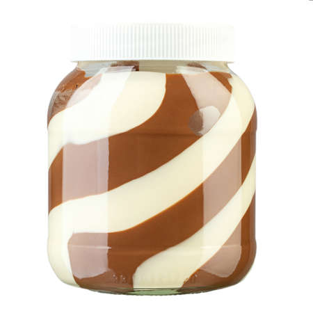 peanut butter with white and black chocolate isolated on a white background.