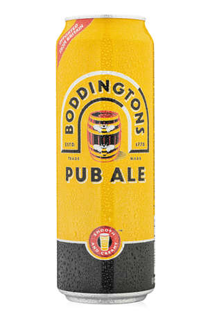 Ukraine, Kyiv - March 02. 2020: Aluminium can beer  Boddingtons Pub Ale from England, United Kingdom on white background. Style: English Pale Ale. Water drops. File contains clipping path.