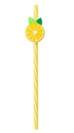 Single yellow drinking cocktail  straw decorated with lemon isolated on white background.