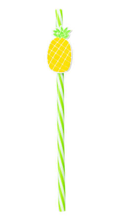 Single yellow drinking cocktail  straw decorated with pineapple isolated on white background.