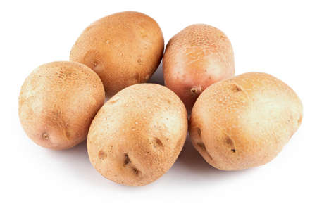a bunch of raw clean young potatoes. isolated on white background