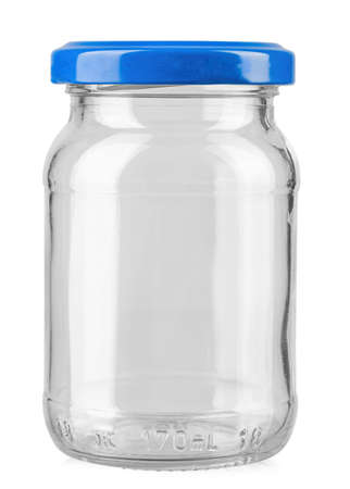 Empty glass jar with blue cap isolated on white background. Stok Fotoğraf