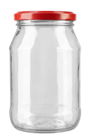 Empty glass jar with red cap isolated on white background. Stock Photo