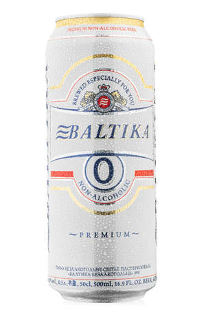Ukraine, Kyiv - June 01. 2020: Metal can beer Baltika, Non Alcoholic 0 on white background. Baltika is the second largest brewing company in Russia. Water drops. File contains clipping path. Editöryel