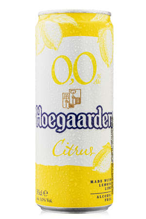 Ukraine, Kyiv - June 01. 2020:  Non-alcoholic drink hoegaarden radler citrus in a beer can on a white background.  Water drops. File contains clipping path.