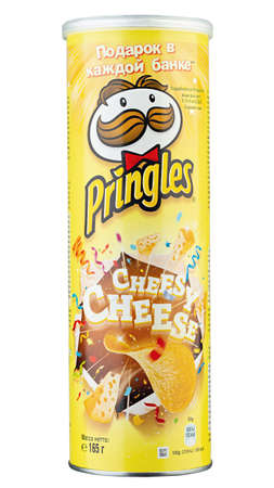 Ukraine, Kyiv - June 01, 2020: A package of Pringles cheese potato crisps, isolated on white background.  Insulated packaging for catalog. File contains clipping path.
