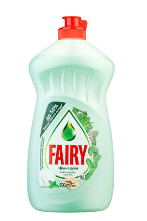 Ukraine, Kyiv - June 01. 2020: Bottle of Fairy Washing up Liquid, produced by Procter & Gamble and sold in most parts of Europe. Insulated packaging for catalog. File contains clipping path.