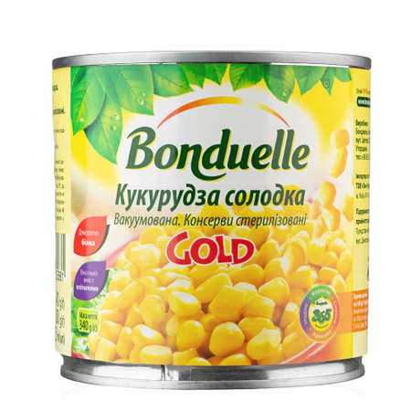 Ukraine, Kyiv - June 01. 2020:Tin can young corn Bonduelle on a white background. Bonduelle is a French company producing processed vegetables. File contains clipping path. Insulated packaging for catalog.