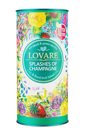 Ukraine, Kyiv - June 02, 2020: A mixture of black and green tea with strawberries and flower petals Lovare Champagne sprays, isolated on white background.  Insulated packaging for catalog. File contains clipping path. Editöryel