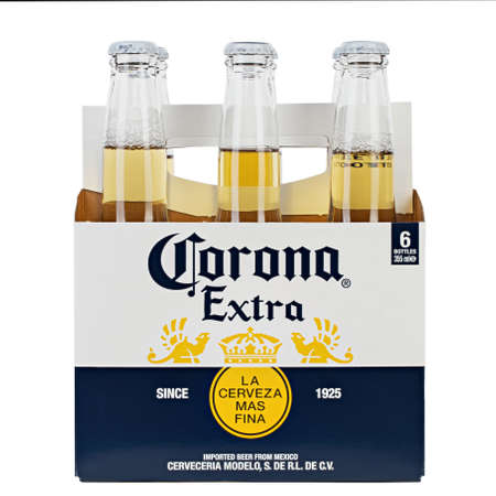 Ukraine, Kyiv - June 03, 2020: A 6 pack of Corona Extra Beer  isolated on white background, side view. Corona is the most popular imported beer in the United States. File contains clipping path.