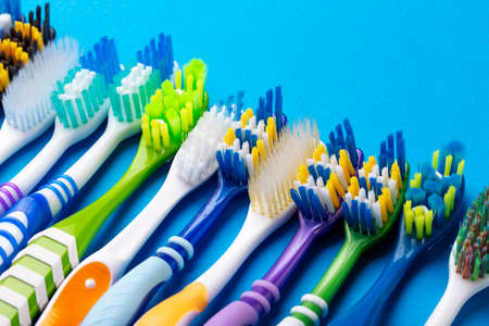 Toothbrush isolated in blue background. Health Care. Stok Fotoğraf