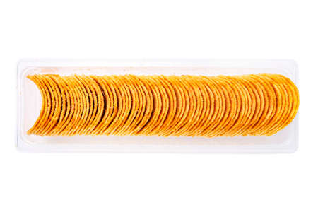 potato chips in a plastic box. isolated on a white background. file contains
