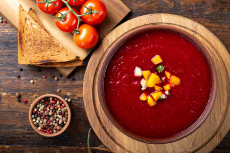 Spicy Homemade Gazpacho Soup Ready to Eat. Spanish cuisine. Reklamní fotografie