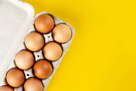 chicken eggs in a cardboard tray on a bright yellow background. place for text
