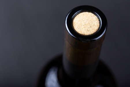 Wine bottle top view. Bottle neck close-up.