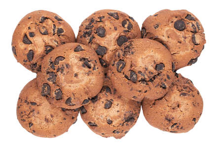 Chocolate cookies isolated on white background with clipping path. Top view. 免版税图像