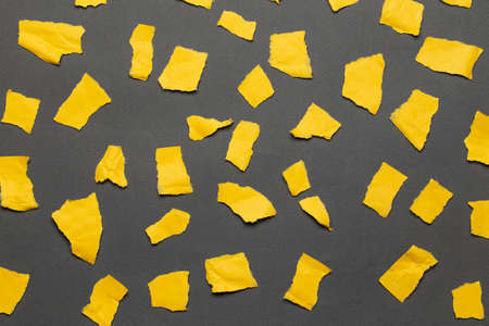 Set of torn paper in yellow on a gray background. Top view. 免版税图像