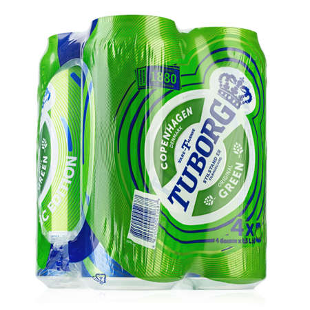 Ukraine, Kiev - October 07.2020: Aluminum four-pack of Tuborg green beer on white background. Tuborg is a Danish brewing company founded in 1873. File contains clipping path.