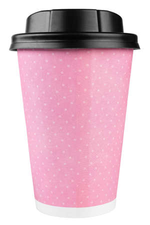 Coffee to go in a in pink disposable cup on a white background. File contains clipping path.