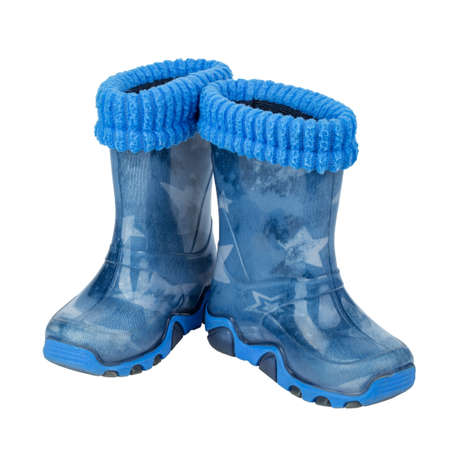 Childrens rubber boots blue �olour isolated white background. File contains clipping path.