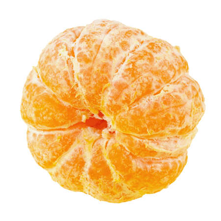 Fresh purified ripe mandarin isolated on white background.