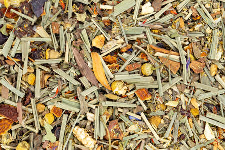 Dry tea leaves alpine meadow. Tea ceremony concept. Space for text. Top view.