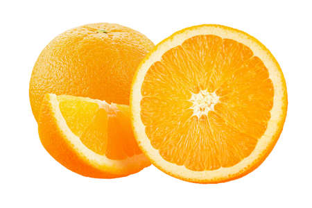 Orange fruit with orange slices on white background full depth of field. 写真素材