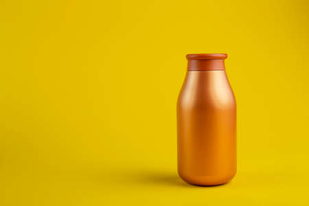 Cosmetics containers mockup. Jar or blank packaging for cosmetic product with cap on a yellow background.