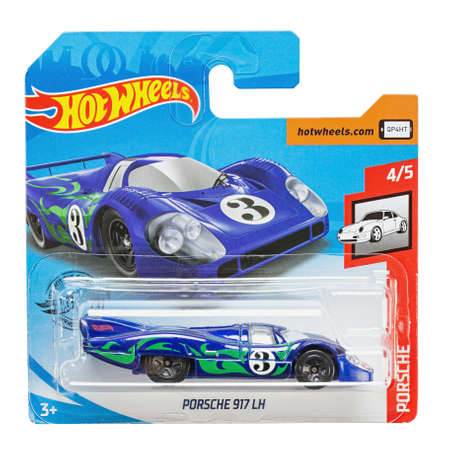 Ukraine, Kyiv - August 26.2020: Toy car model Porsche 917 lh. Hot Wheels is a scale die-cast toy cars by American toy maker Mattel in 1968.