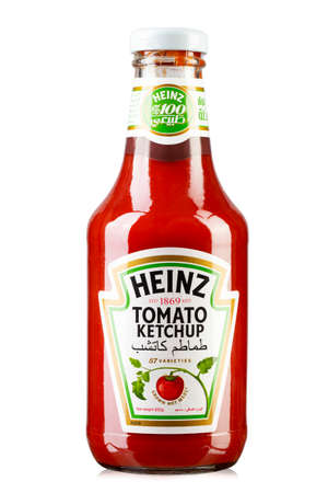 Ukraine, Kyiv - May 29.2019: Heinz tomato ketchup sauce. The company was founded in 1869 by Henry John Heinz.