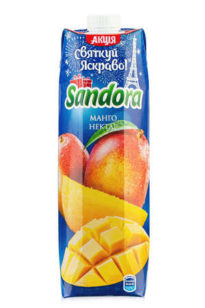 Ukraine, Kyiv - December 14. 2020: Sandora brand mango juice packaging white background. Insulated packaging for catalog. File contains clipping path. 報道画像